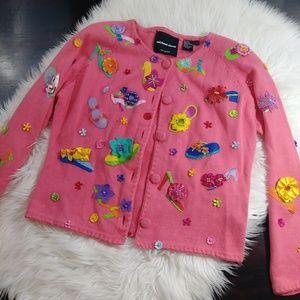 Michael Simon Pink Embellished Sweater 015